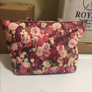 Late Spade Spring Floral Leather Tote Bag Purse